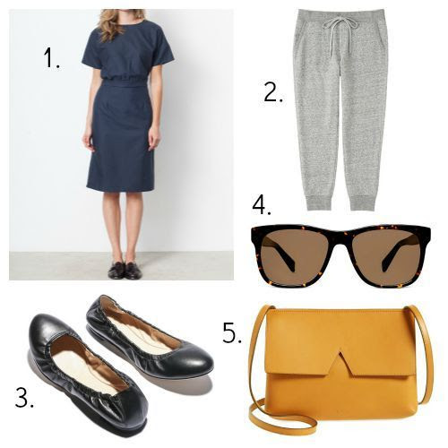 Hackwith Design Dress - Uniqlo Sweatpants - M. Gemi Flats - Warby Parker Sunglasses - Vince Handbag
