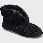 Women's Dearfoams Bootie Slippers - Black S, Size: Small