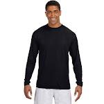 A4 Men's Long Sleeve Cooling Performance Crew Neck T Shirt, Black