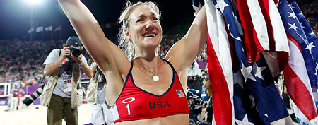 Kerri Walsh Jennings was hiding a big secret during the Olympics. (Photo by Jamie Squire/Getty Images)