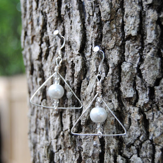 Deathly Hallows Inspired Pearl Earrings