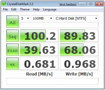 Benchmark of my 1TB HDD (Seagate 31000)
