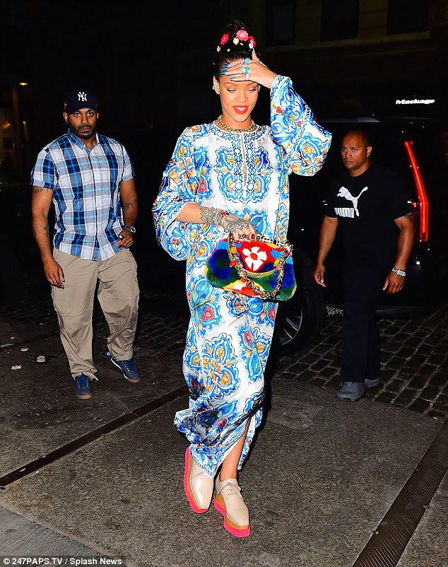 Print game strong: Even as Rihanna walked into the night, she looked as vivid as a summer's day in her fantastic ensemble