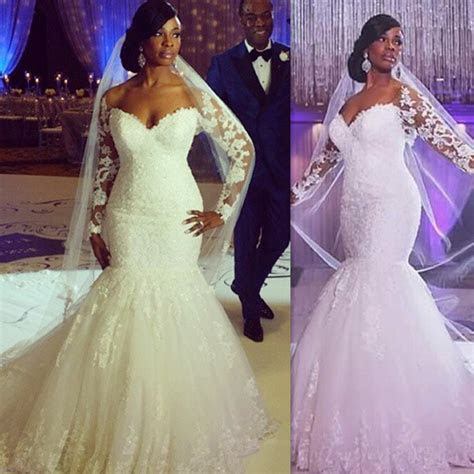 Plus Size Wedding Dresses 2016 Long Sleeves Lace V neck