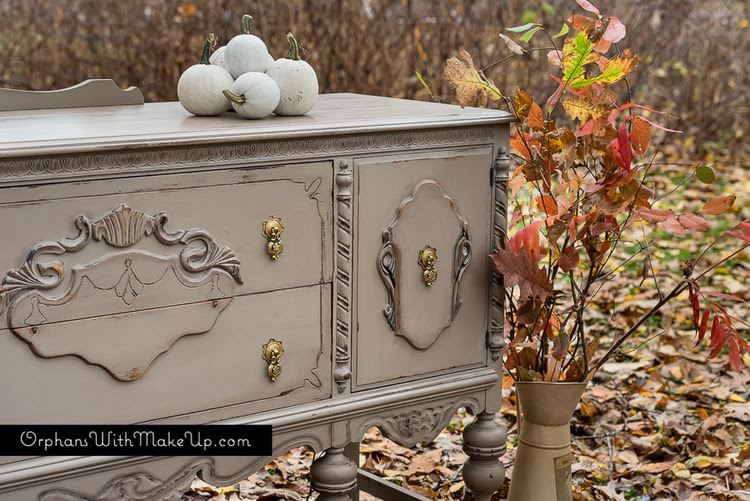 "Fall inspired painted buffet.  Annie Sloan ""Coco"" Chalk Paint®."