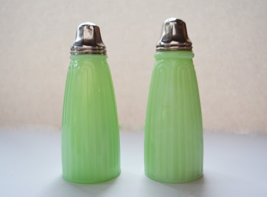 Jeannette Jadeite Tall Bell Shakers Glass Table by Vintassentials