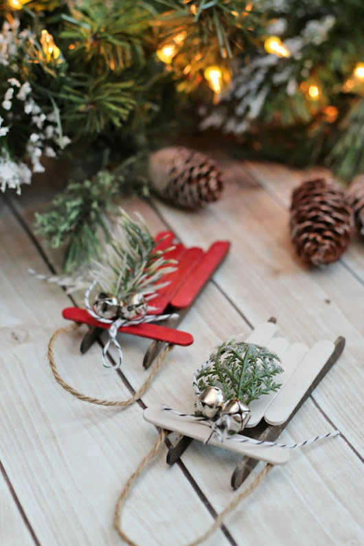 Handmade Christmas Ornaments - Popsicle Stick Sleds - Clean and Scentsible