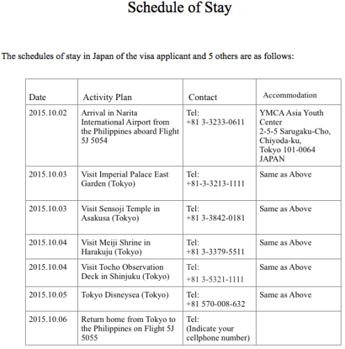 Sample Daily Schedule Japan Visa | Daily Planner