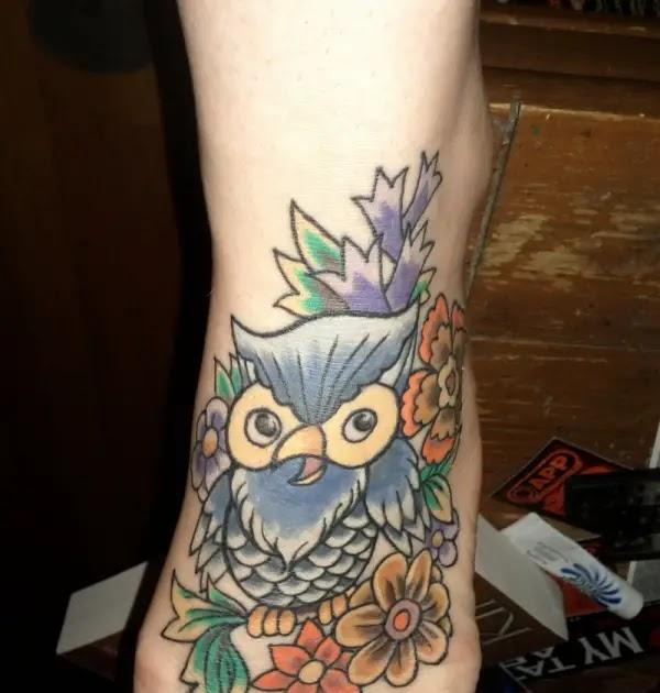 Corner Tattoos: Women Foot Owl Tattoos