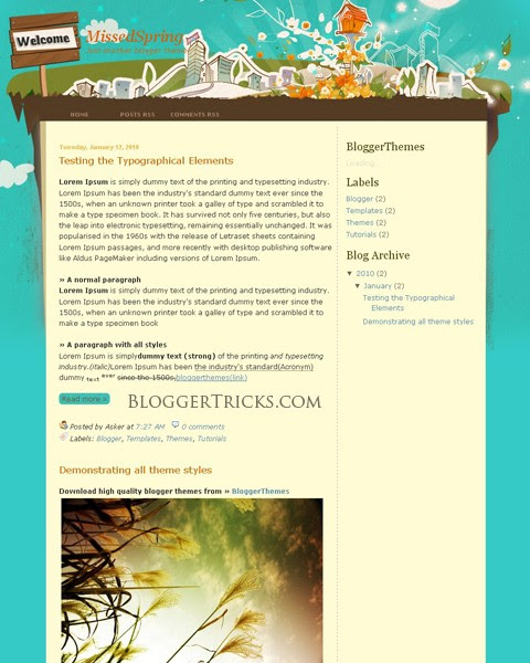 Creative Blogger Template – Missed Spring