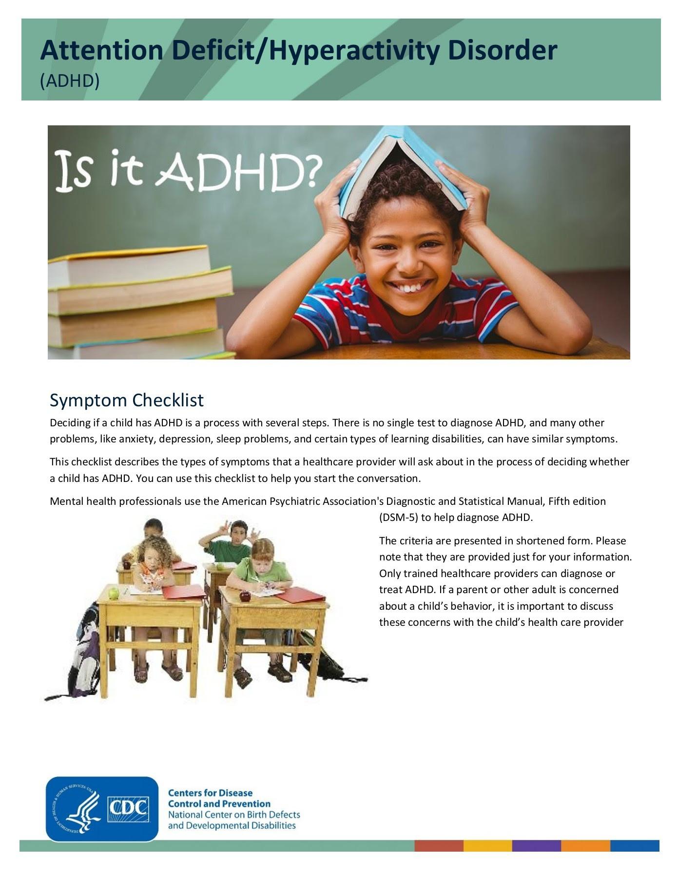 Adhd Symptoms Checklist For Children | Idea Of Life