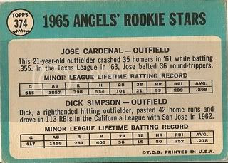 #374 Angels Rookies: Jose Cardenal and Dick Simpson (back)