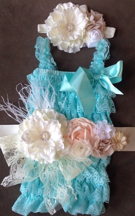 Blue/Teal/Aqua Lace Petti Romper w/ by My2DaughtersBowtique