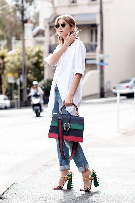 Le Fashion Blog Blogger Style Sunglasses White Button Down Shirt Rainbow Striped Top Handle Gucci Bag Cuffed Denim Colorblock Spiked Heeled Sandals Via Chronicles Of Her