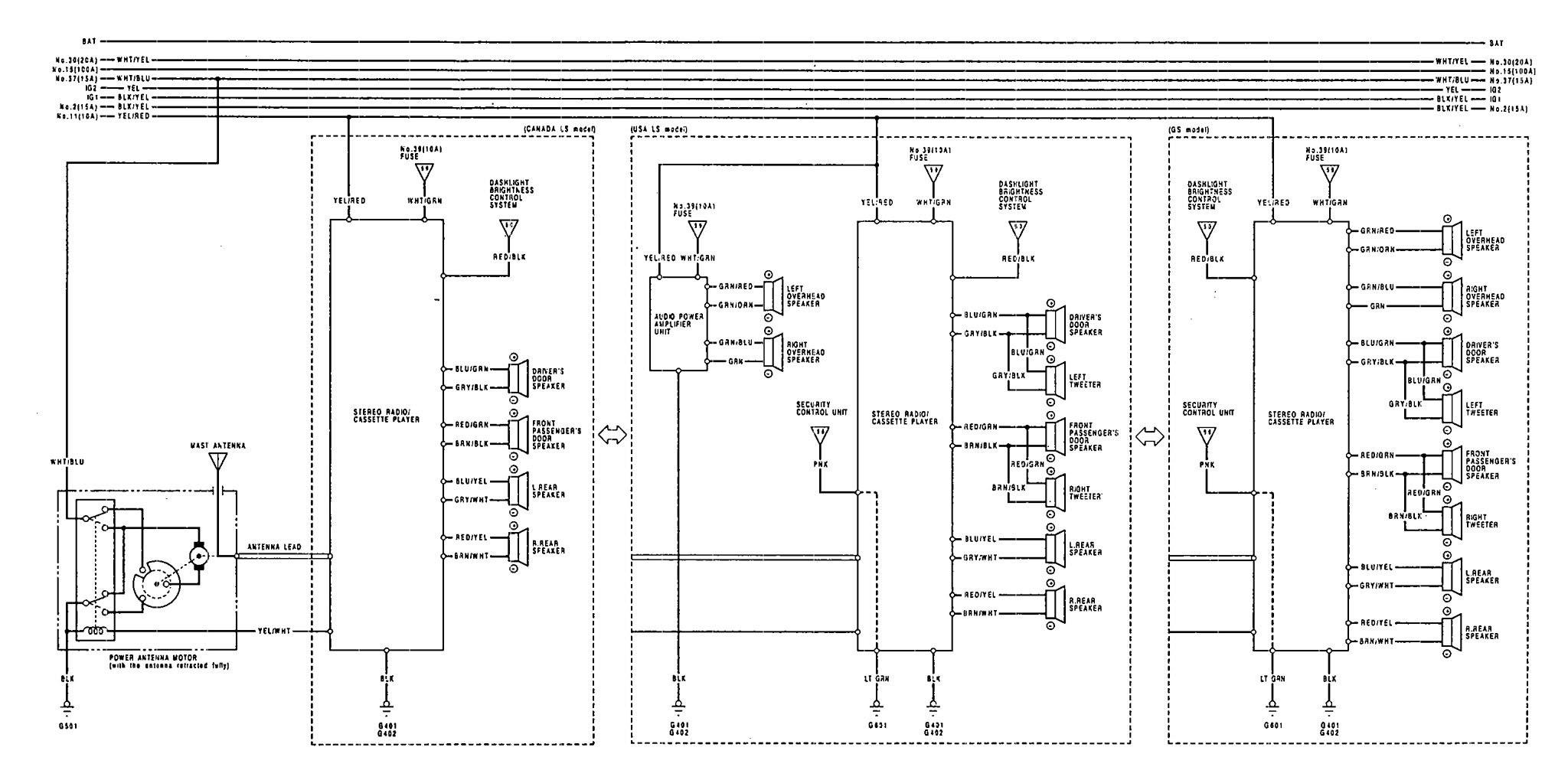 Acura Vigor (1992) - wiring diagrams - audio - CARKNOWLEDGE