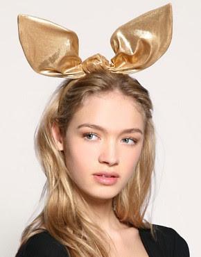 Image 1 of ASOS Premium Lame Bunny Ears Headband