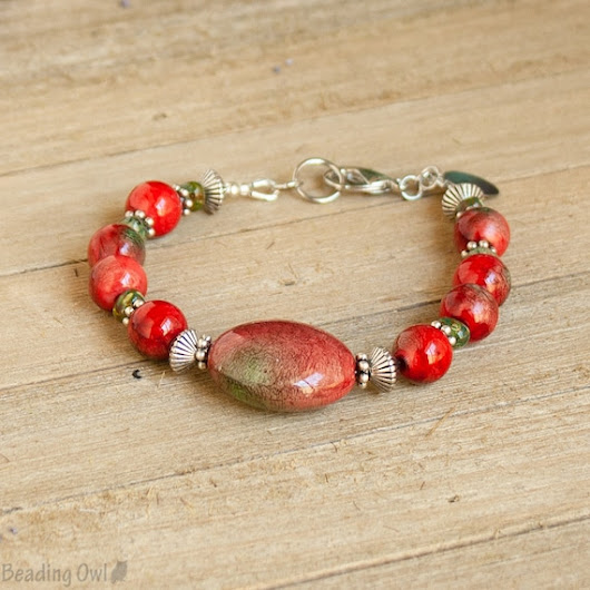 Red and Green Bracelet Red Green Jewelry Red Bracelet