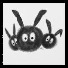 Three Dust Bunnies, Black and White Cartoon Wood Wall Art