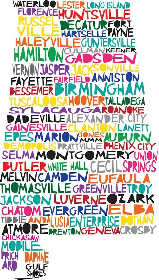 11x17 ALABAMA Digital Illustration of Alabama State with Cities