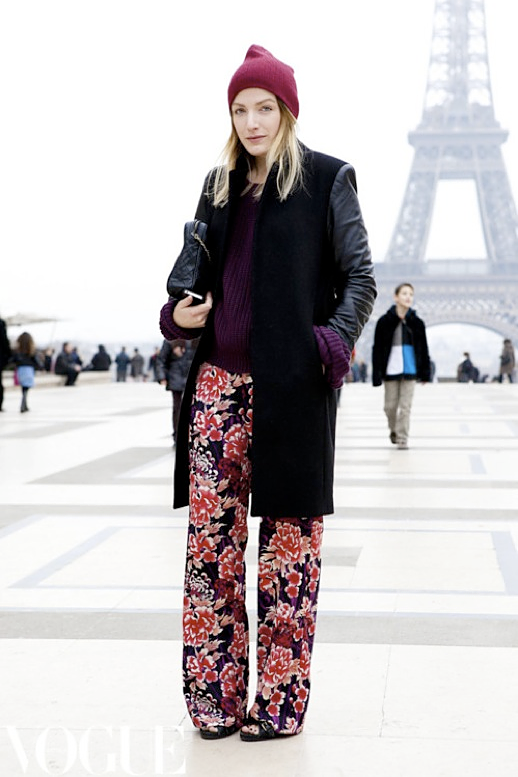 LE FASHION BLOG BURGUNDY BEANIE SNOW HAT LEATHER SLEEVE COAT RIBBED KNIT PURPLE SWEATER FLORAL PRINT WIDE LEG PANTS FALL WINTER INSPIRATION STREET STYLE LOOK QUILTED BAG