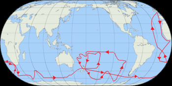 Map showing the second voyage of Captain James...
