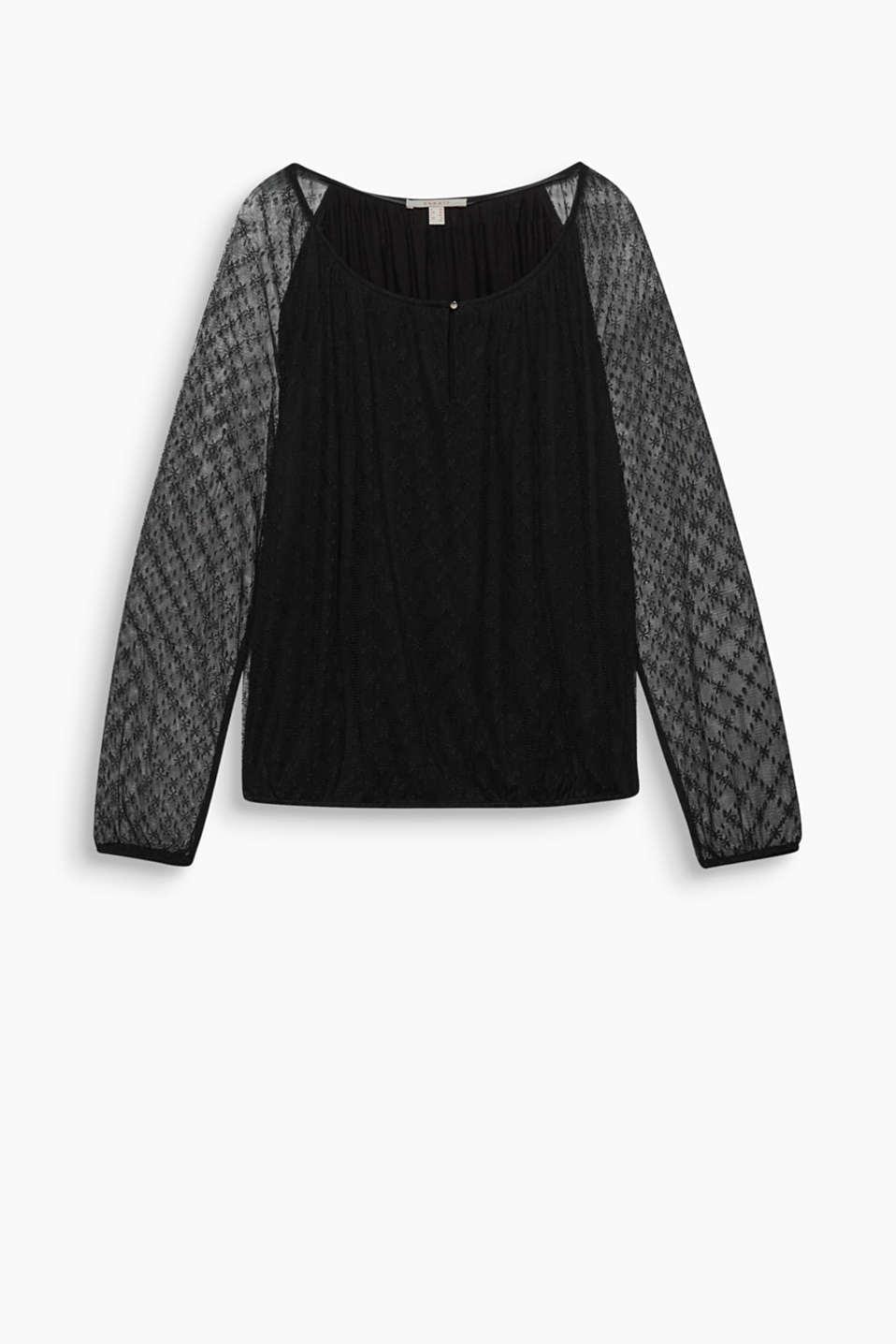 Perfetta da abbinare a una gonna di pelle o ai jeans skinny: camicetta in pizzo con maniche trasparenti e elastico sul fondo!