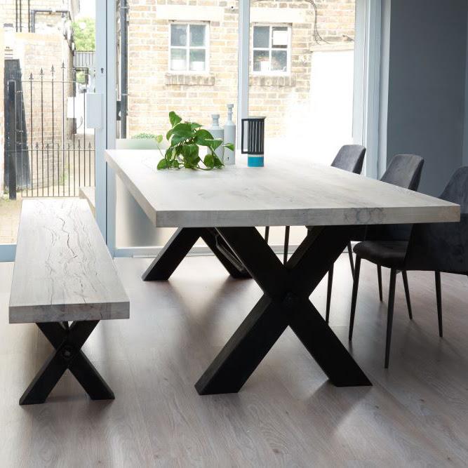 Rustik Industrial Wood Dining Table \u0026 Metal Legs