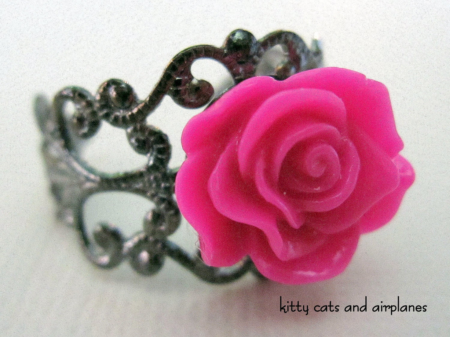 Hot pink rose cabochon filigree cocktail ring