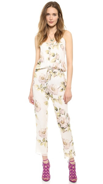Haute Hippie Drawstring Floral Jumpsuit - Swan Multi