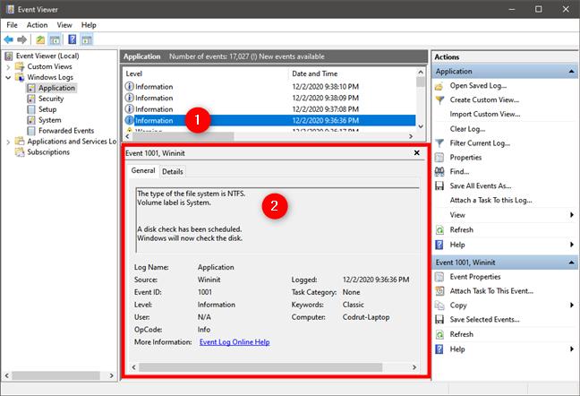 Resultados del último análisis de chkdsk cuando se ejecutó Check Disk al iniciar Windows 10