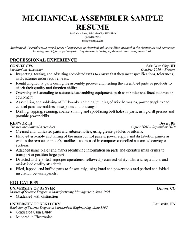 assembly line resume sample
