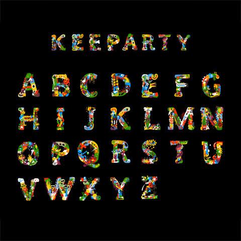 カラフルに彩られたかわいいイラスト調フリーフォントkeeparty Font