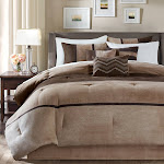 Madison Park Hanover 7 Piece Faux Suede Comforter Set Brown King