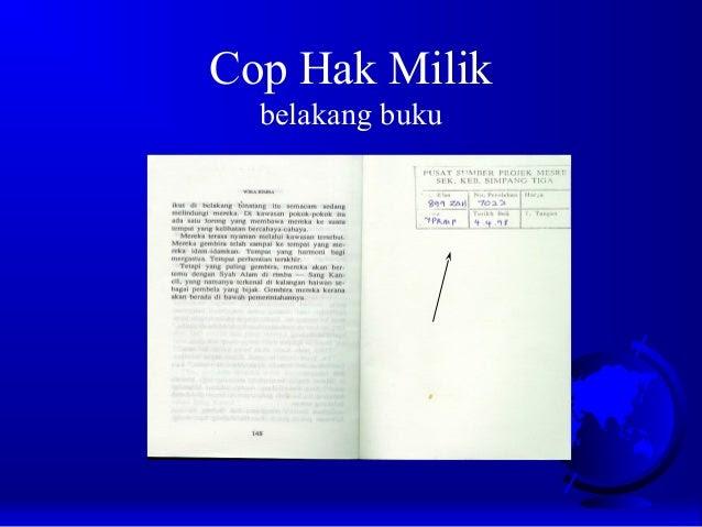 Cop Hak Milik belakang buku