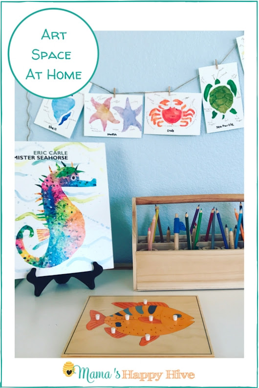 Montessori Inspired Art Space at Home with Free Color Printables