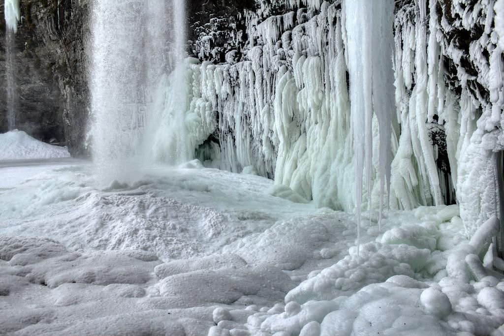 Cane Creek Falls frozen detail 1, Fall Creek Falls State Park, Van Buren County, Tennessee