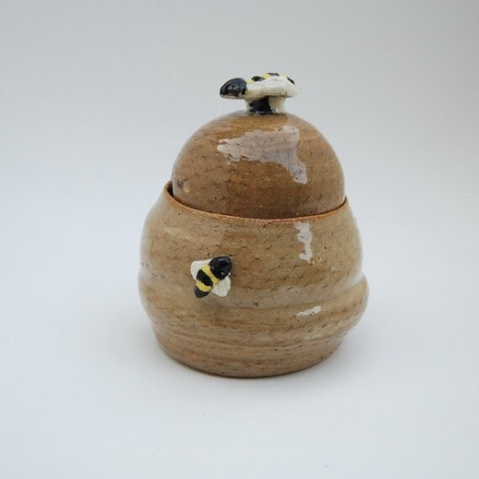 Honey Pot Hand Made Pottery with Bumble by TheButlersCreations