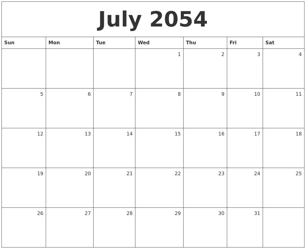 july 2054 monthly calendar