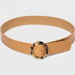 Women's Tortoise Resin Circle Buckle Belt - A New Day Brown