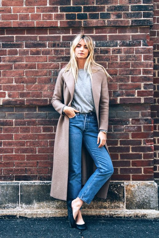 Le Fashion Blog Model Off Duty Elyse Taylor Casual Spring Look Longline Coat Grey Knit Vintage Straight Leg Jeans Black Ballet Flats Via BLDG 25
