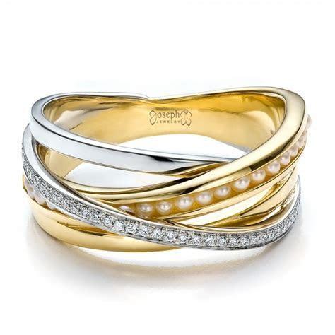 Custom Women's Pearl and Diamond Wedding Band #100011