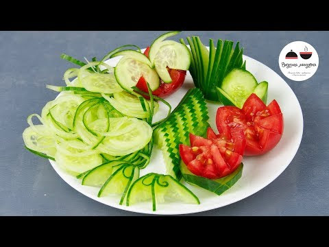 6 Ways to Cut Up Cucumbers for a Party. Decorating of Vegetables