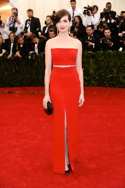 Le Fashion Blog 7 Best 2014 Met Gala Looks Anne Hathaway Red Calvin Klein Collection Crop Top Skirt photo Le-Fashion-Blog-7-Best-2014-Met-Gala-Looks-Anne-Hathaway-Calvin-Klein-Collection.jpg