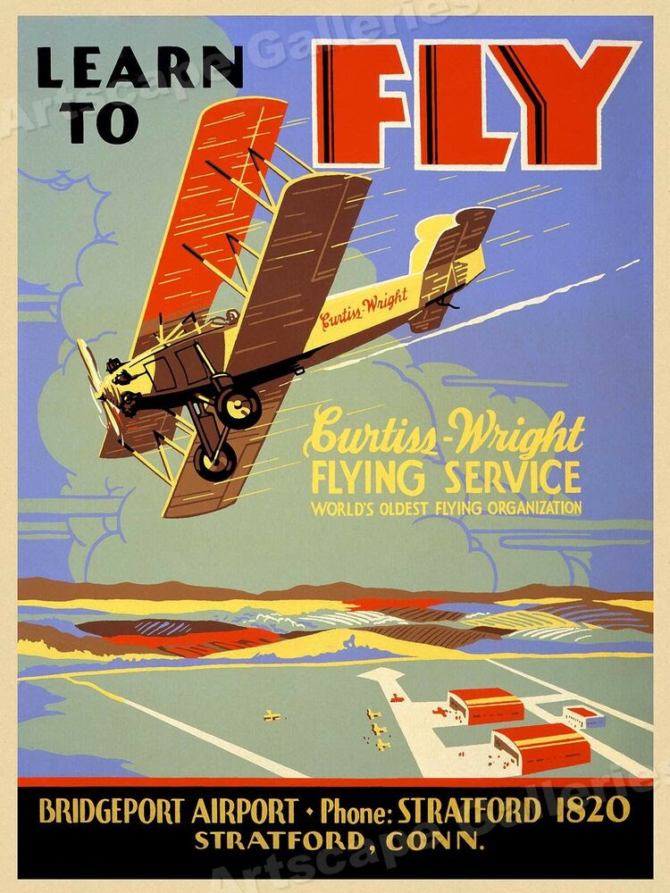 "1930s Flying Lesson Poster ""Learn to Fly"" Vintage Style ..."