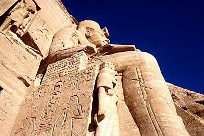 Ramses II's statue from below