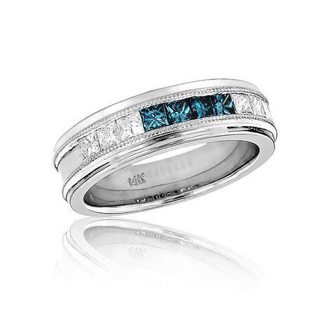 Mens White Blue Diamond Wedding Band 1.1ct 14k Gold