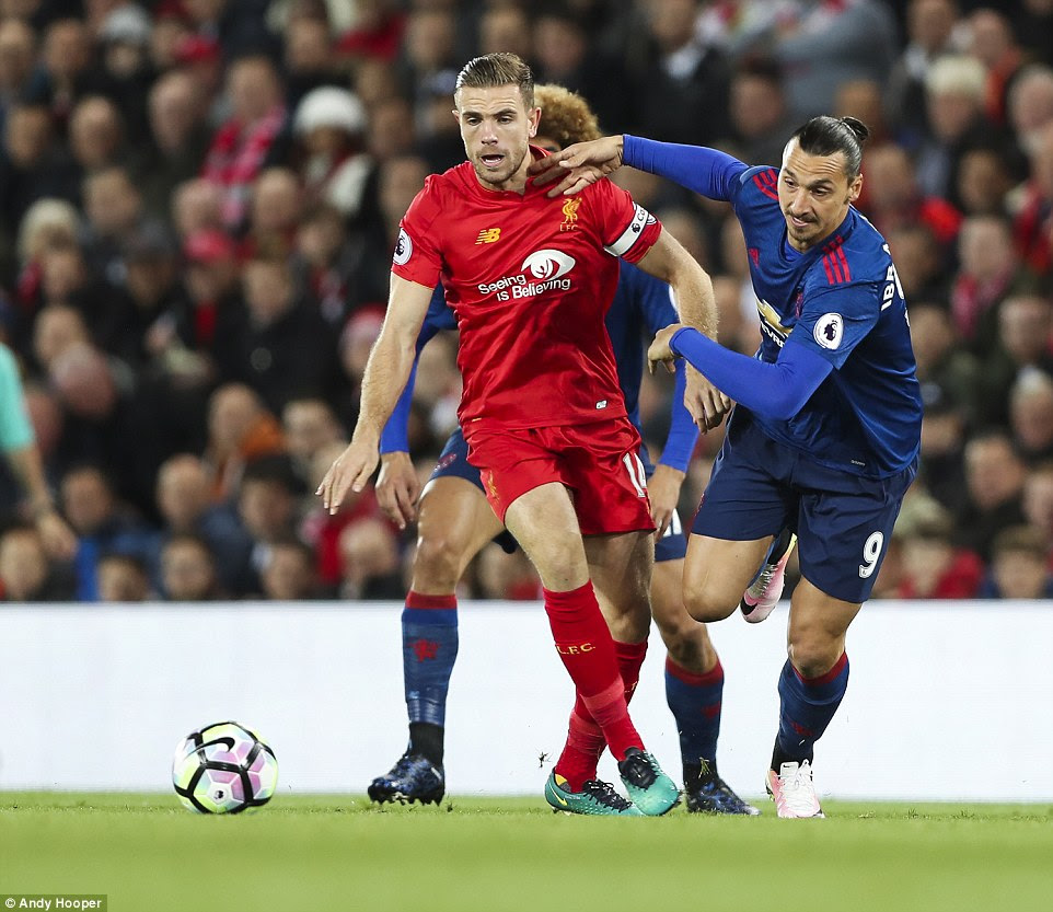 Liverpool captain Henderson felt the force of Ibrahimovic, with the United forward at one stage brushing him aside