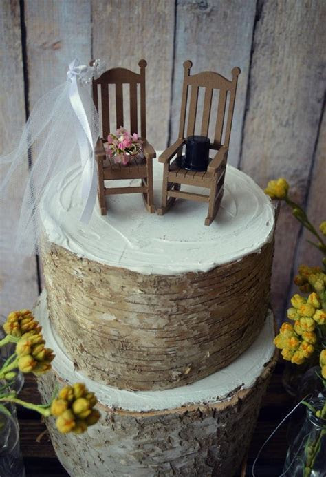 Rocking chair cake topper rustic shabby woodlands Mr.and