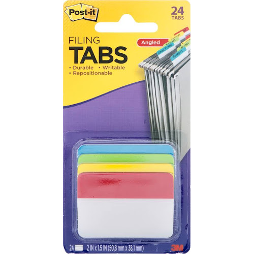 Post-it Angled Hanging File Tab - 24 count
