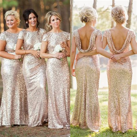 badgley mischka sequin cowl  bridesmaid dresses sheath